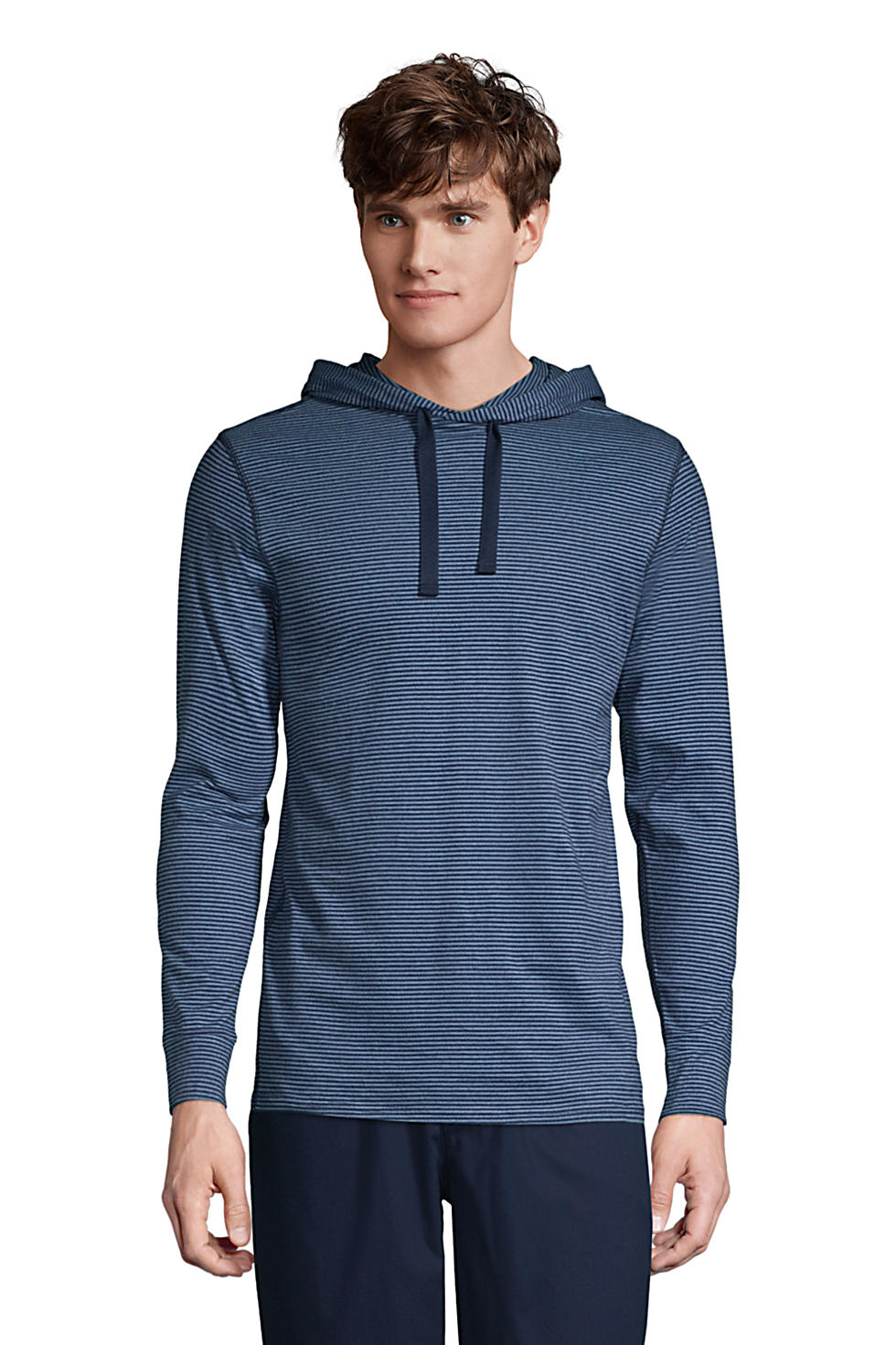 Lands' End Men's Knit Hooded Pajama Shirt