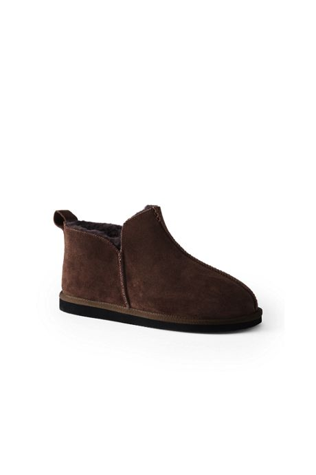 Men's Suede Leather Shearling Bootie Slippers