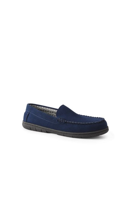 Men's Suede Leather Flannel Lined Moccasin Slippers