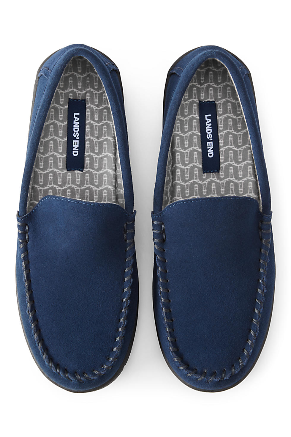 Lands' End Men's Suede Flannel Lined Moccasin Slippers