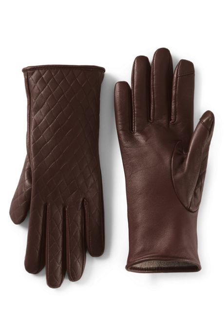 Women's EZ Touch Screen Embossed Cashmere Lined Leather Gloves