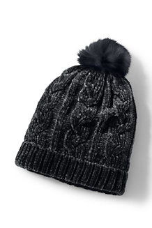 Women's Chenille Chenille Sherpa-lined Bobble Hat