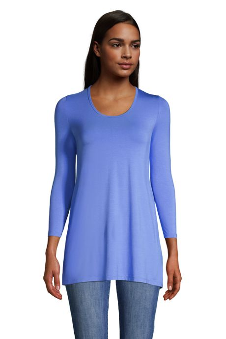 Women's Jersey Knit 3/4 Sleeve Scoop Neck Tunic Top