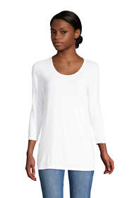 Women's Petite Jersey Knit 3/4 Sleeve Scoop Neck Tunic Top