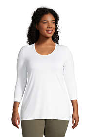 Women's Plus Size Jersey Knit 3/4 Sleeve Scoop Neck Tunic Top