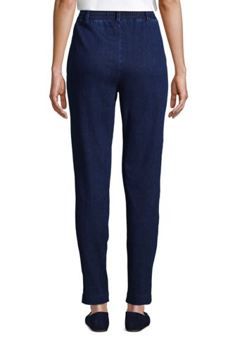 Women's Sport Knit Denim High Rise Elastic Waist Pull On Tapered Trouser Pants