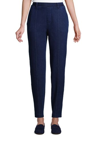 Women's Petite High Waisted, Tapered Leg Sport Knit Trousers