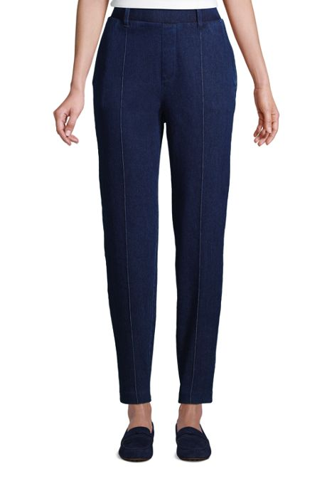 Women's Petite Sport Knit Denim High Rise Elastic Waist Pull On Tapered Trouser Pants