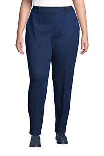 Women's Plus Size Sport Knit Denim High Rise Elastic Waist Pull On Tapered Trouser Pants, Front