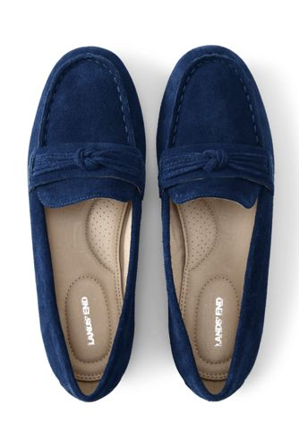 Women's Wide Width Comfort Suede Leather Slip on Loafer Shoes