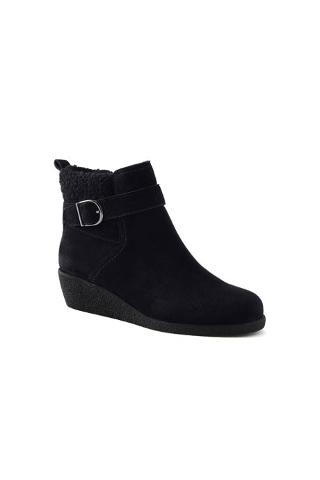 Women's Suede Leather Wedge Booties