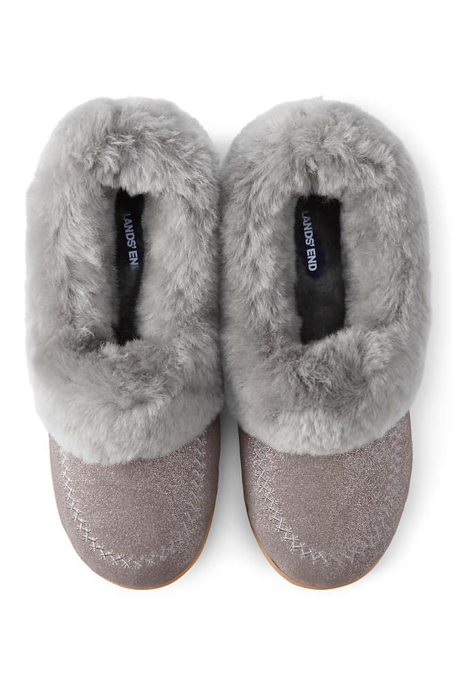Women's Suede Shearling Embroidered Slippers, Front