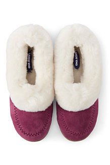 Women's Suede Shearling Embroidered Slippers