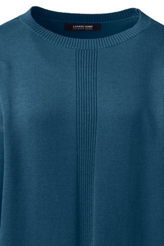 Women's Plus Size Cotton Modal Long Sleeve Rib Detail Dropped Shoulder Tunic Sweater