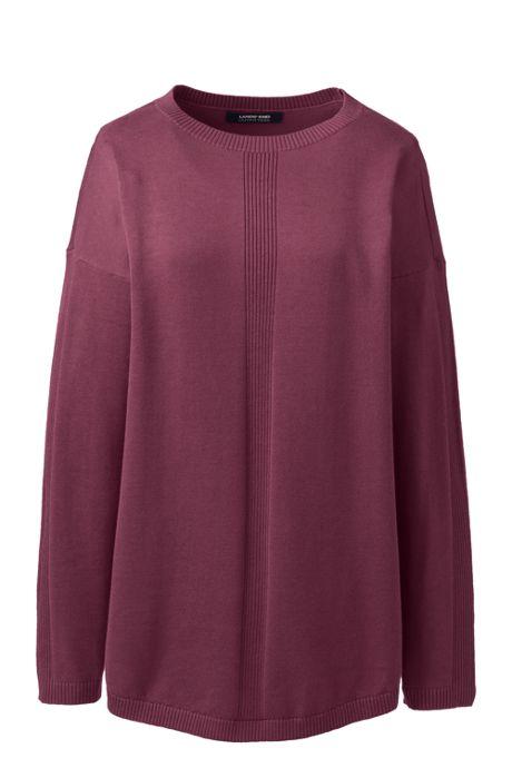 Women's Cotton Modal Long Sleeve Rib Detail Dropped Shoulder Tunic Sweater