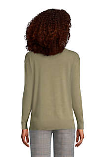 Women's Petite Fine Gauge Cotton Crewneck Sweater, Back
