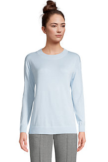 Women's Fine Gauge Cotton Open Crew Neck Jumper