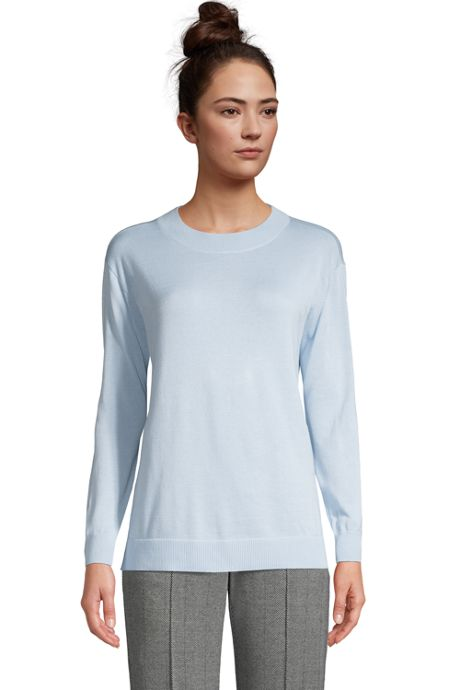 Women's Fine Gauge Cotton Crewneck Sweater