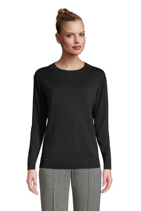 Women's Petite Fine Gauge Cotton Crewneck Sweater