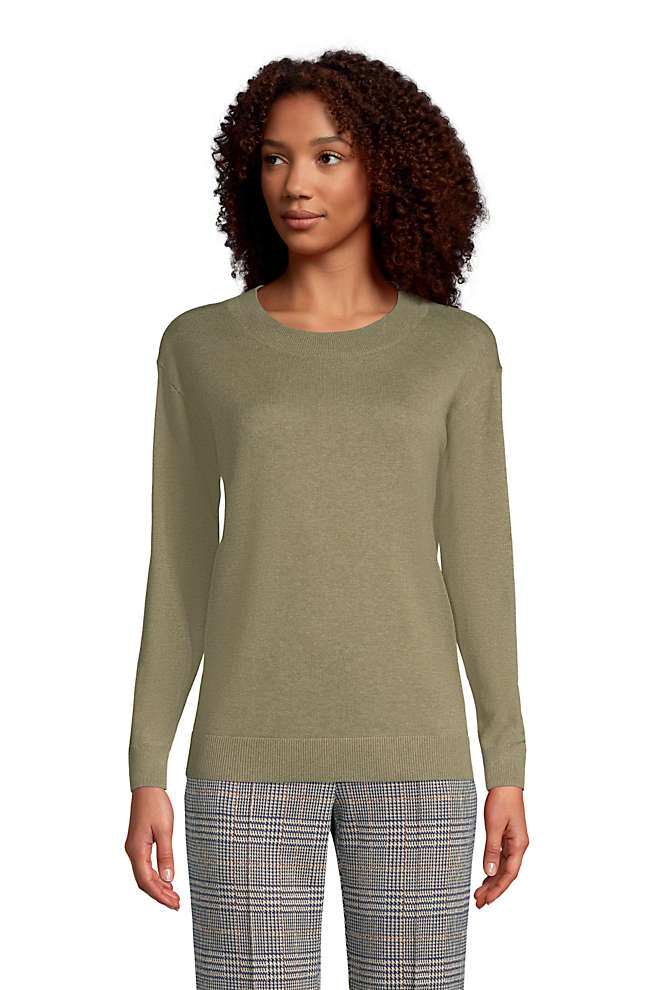 Women's Petite Fine Gauge Cotton Crewneck Sweater, Front