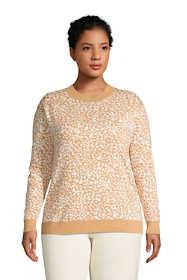 Women's Plus Size Fine Gauge Cotton Crewneck Sweater - Jacquard