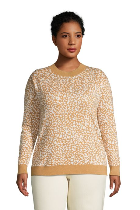 Women's Plus Size Fine Gauge Cotton Crewneck Sweater - Jacquard