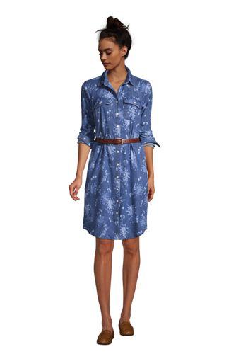 Women's Tall Cotton Denim Button Front Long Sleeve Dress