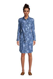 Women's Long Sleeve Denim Shirt Dress
