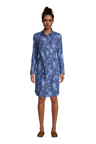 Women's Petite Long Sleeve Denim Shirt Dress