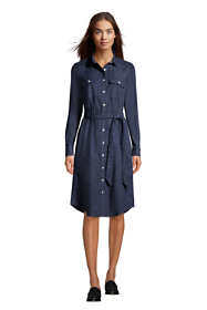 Women's Cotton Denim Button Front Long Sleeve Dress
