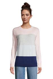 Women's Fine Gauge Cotton Crewneck Sweater - Stripe
