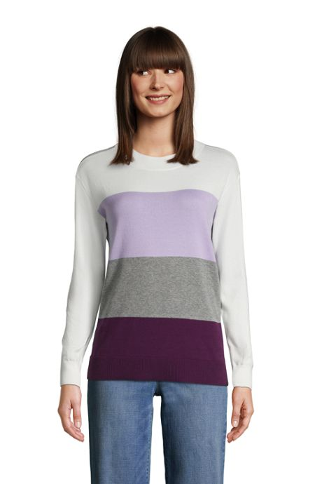 Women's Tall Fine Gauge Cotton Crewneck Sweater - Stripe