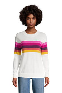 Women's Fine Gauge Colourblock Open Crew Neck Jumper