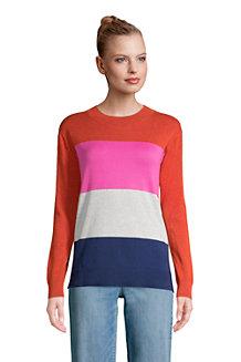 Colorblock Feinstrick-Pullover Rundhals aus Baumwolle für Damen