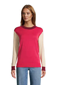 Women's Petite Fine Gauge Cotton Crewneck Sweater - Stripe