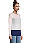 Colorblock Feinstrick-Pullover Rundhals aus Baumwolle für Damen in Petite-Größe