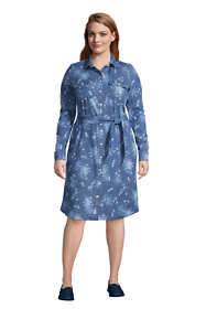 Women's Plus Size Cotton Denim Button Front Long Sleeve Dress