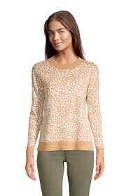 Women's Fine Gauge Cotton Crewneck Sweater - Jacquard