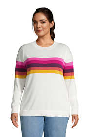 Women's Plus Size Fine Gauge Cotton Crewneck Sweater - Stripe