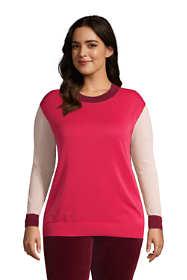 Women's Plus Size Fine Gauge Cotton Crewneck Sweater - Stripe