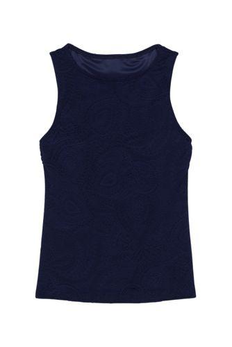 Women's Paisley Texture High Neck UPF 50 Sun Protection Modest Tankini Top Swimsuit