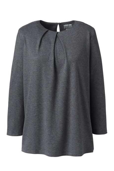 Women's Cotton Polyester Three Quarter Pleat Neck Top