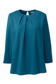Women's Cotton Polyester 3/4 Sleeve Pleat Neck Top