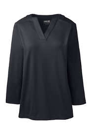 Women's Plus Size Supima Micro Modal Three Quarter Sleeve Notch Neck Top