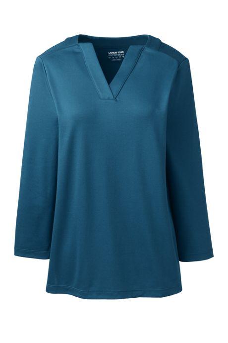 Women's Supima Micro Modal Three Quarter Sleeve Notch Neck Top