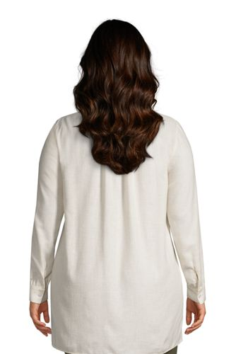 Women's Plus Size Brushed Cotton Long Sleeve V-Neck Tunic Top