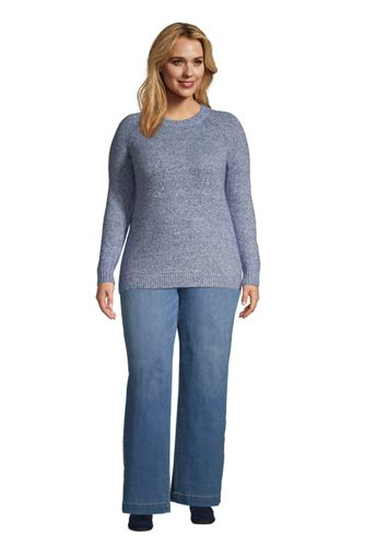 Women's Plus Size Raglan Sleeve Crew Neck Sweater