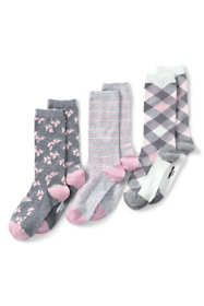 Women's 3-Pack Seamless Toe Patterned Crew Socks
