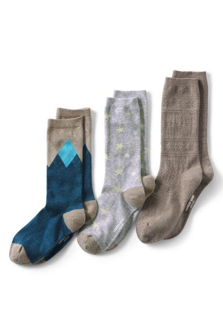 Women's 3-Pack Seamless Toe Patterned Crew Socks