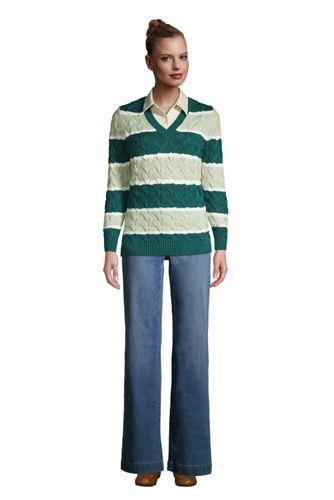 Women's Cotton Drifter V-neck Sweater - Stripe